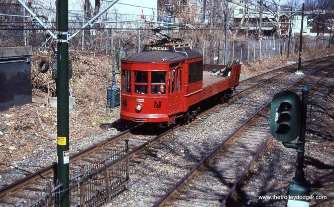 NJT motor flat 5223. Originally built in 1917 as Public Service Composite car 2683. It was converted to a motor flat work car in 1954.