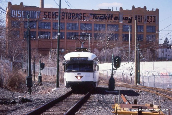 PCC 23 approaching the Orange Street Station. Former Otis Elevator building in background.
