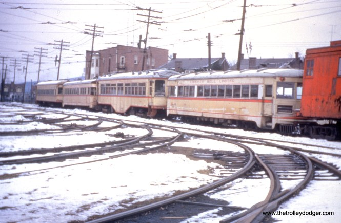 LVT 1001, 701, 1008 and 702 at Fairview car barn in Allentown on January 6, 1952, shortly before being scrapped.