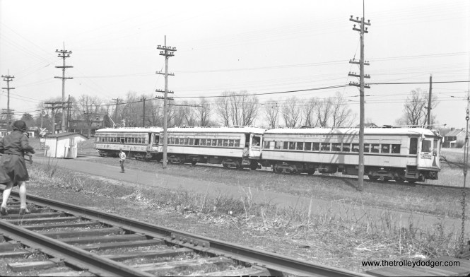 LVT 702, 704, and 710 are southbound on a fantrip at West Point on April 15, 1951. This was the first and only time a matched set of three 700-series cars were operated as a multiple unit. Shortly after this, the 710, looking pretty shabby here, was scrapped.