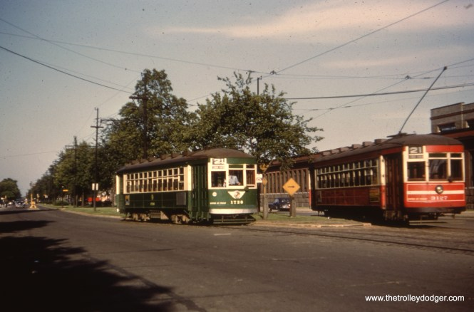 CTA 1728 and 3127 at Cermak and Kenton in May 1952. This was the western end of route 21 - Cermak.