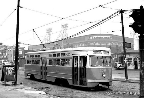 Brooklyn & Queens Transit PCC 1000 near Ebbets Field, home of the Dodgers. This was the sole PCC streetcar built by the Clark Equipment Company in 1936. This aluminum-bodied car has standee windows, which later became a fixture on postwar PCCs. Ebbets Feild fell to the wrecking ball in 1960, but car 1000 has been preserved by the Trolley Museum of New York, where it is undergoing restoration.