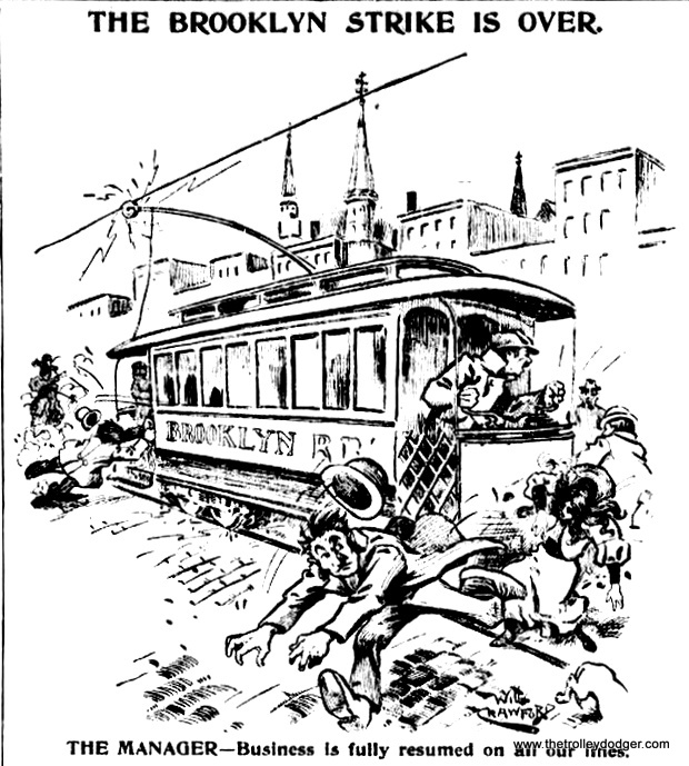 "Some Brooklyn ""trolley dodgers"" from 1895."