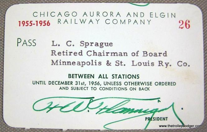 Lucian C. Sprague (1882-1960) was president of the Minneapolis and St. Louis Railway from 1935 to 1954, and received this pass from the Chicago, Aurora & Elgin. Officials from various railroads gave each other these sorts of passes as a professional courtesy. The Chicago & North Western bought the Minneapolis and St. Louis in 1960.