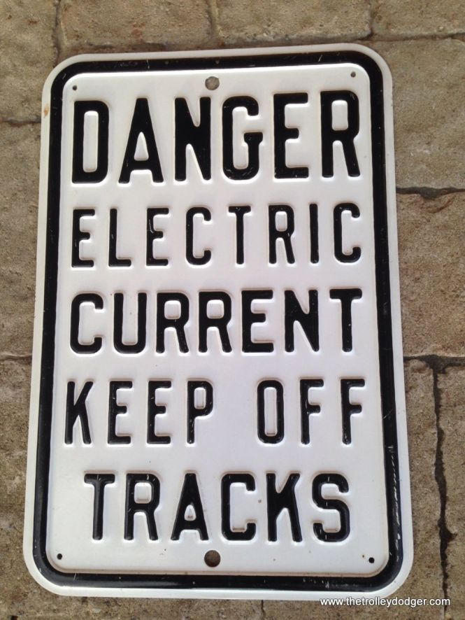 This metal sign, said to have been used on the Chicago, Aurora & Elgin, recently sold on eBay for $280.