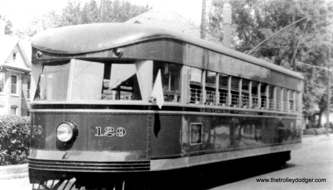 "According to Don's Rail Photos, Fonda Johnstown & Gloversville 129 was built by Brill in 1932, order #22961. It was sold as Bamberger in 129 in 1939 and retired in 1952. The body was sold to Utah Pickle Co. These were single-ended lightweight ""Bullet"" cars similar to the double-ended ones used on the Philadelphia & Western."
