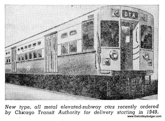 "Artist's rendering of a ""flat door"" 6000-series ""L"" car. These were needed to begin service in the Dearborn-Milwaukee subway. As it turned out, deliveries did not begin until 1950 and the subway opened in February 1951."