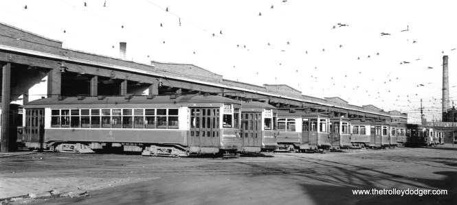 CSL 3212 heads up the line-up at Archer Station (car house) on October 16, 1946. (John F. Bromley Collection)