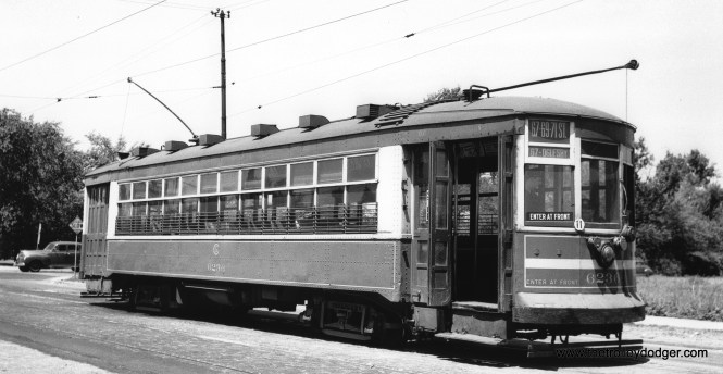 CTA 6236 at 71st and California on the 67-69-71 route on May 29, 1949. (John F. Bromley Collection)