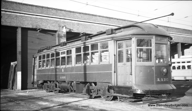 CTA salt spreader AA105, formerly car 2854, at 69th and Ashland. This car was scrapped on February 17, 1954. (C. Edward Hedstrom Collection)