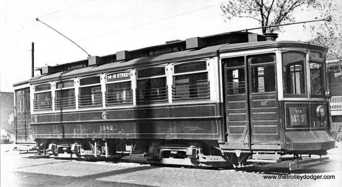 "CSL 1382. To paraphrase Don's Rail Photos, ""1382 was built by St Louis Car Co in 1906 as CUT 4911. It became CSL 1382 in 1914."""