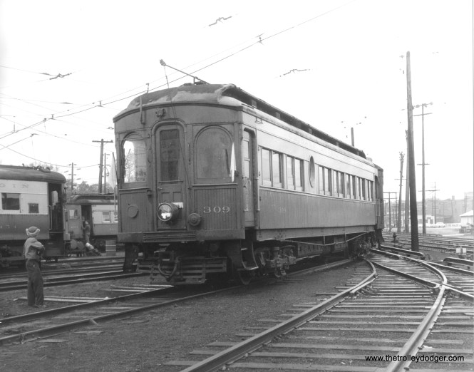 """CA&E 309 at Wheaton on a May 19, 1957 CERA fantrip. About two years later the fledgling Illinois Electric Railway Museum referred to this car as the """"jewel of the fleet,"""" when raising money for its purchase. We reproduced that flyer in our post Railfan Ephemera (August 26, 2015)."""
