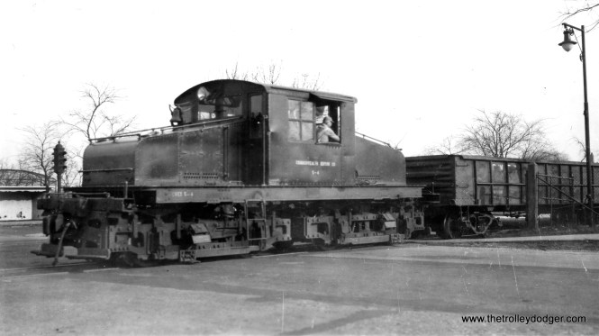 """In our post Trolley Dodger Mailbag, 10-18-2015, Mike Murray asked for pictures of the Commonwealth Edison third rail operation on Chicago's north side (not far from the former location of Hot Doug's). Well, we finally found one. Here is electric loco S-4 at California and Addison on January 9, 1949. According to Don's Rail Photos, """"4 was built in November 1911 by Alco, #50284, and General Electric, #3514. It was donated to Illinois (Electric) Railway Museum in 1962."""""""