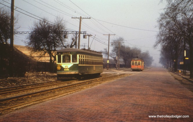 CTA 3381, now in CTA green, near the south end of route 4 - Cottage Grove, circa 1952. We cannot tell whether it had yet been converted to one man operation. (Earl Clark Photo)