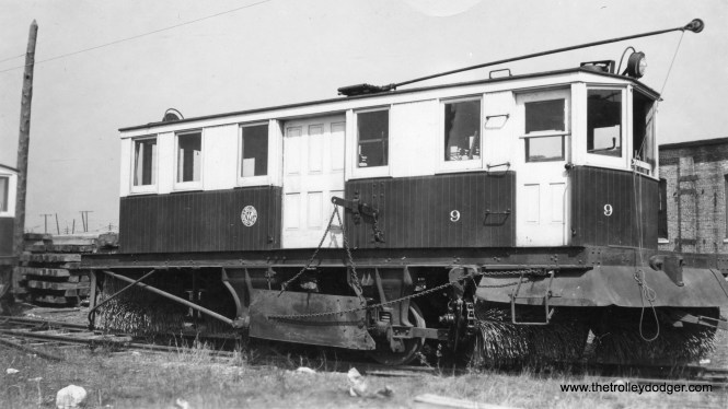 """C&WT snow sweeper 9. According to Don's Rail Photos, """"9 was built by McGuire-Cummings in 1928. It was sold to Sand Springs (Oklahoma) Railway in 1948."""""""