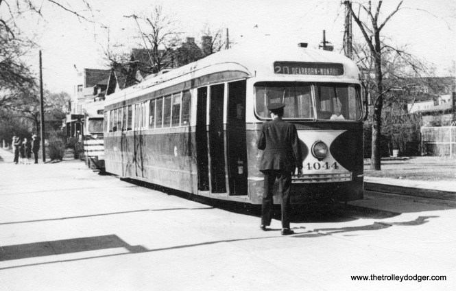 """CSL 4044 at Madison and Austin. The picture is dated 1941, but the """"tiger stripes"""" on the car at rear would indicate it may be more like 1945-46."""