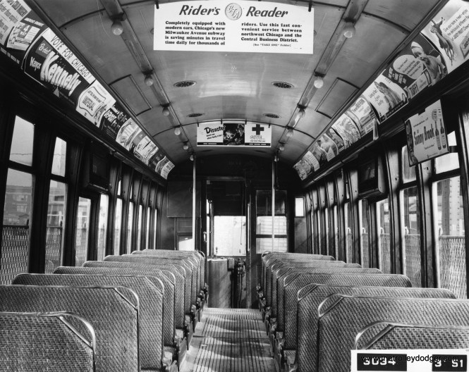 "The interior of CTA 3034 as it appeared in March 1951. This car was built by Brill in 1914. You will find more than a dozen copies of the Rider's Reader in our E-book The ""New Look"" in Chicago Transit: 1938-1973, available in our Online Store. (Chicago Transit Authority Photo)"