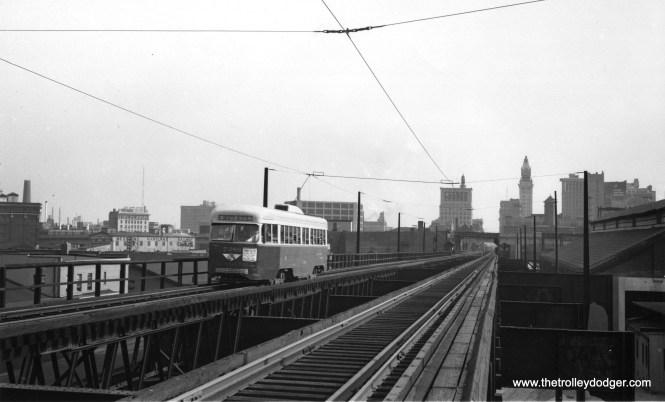 The Guiford Avenue el in Baltimore, circa 1949. (Lester K. Wismer Photo)