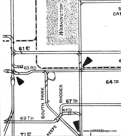 A close-up of the area from a 1941 CSL track map, which can be found in our E-book Chicago's PCC Streetcars: The Rest of the Story, available from our Online Store. It looks like there were tracks leading to this building.