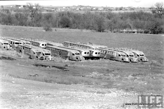 Buses purported to be those from the 1933-34 World's Fair, shown in Texas in 1939, where they were owned by the Bowen Bus Company.