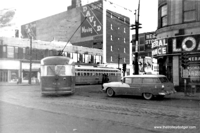 CTA 7165 at Broadway and Devon, circa 1956-57. (Jay Viena Photo)