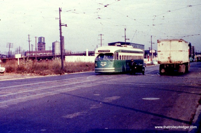 CTA PCC car 7144, workign route 36 - Broadway-State, is seen heading southbound on State Street at the 62nd Place Loop in the 1950s. View looks north. (William C. Hoffman Photo, Wien-Criss Archive)