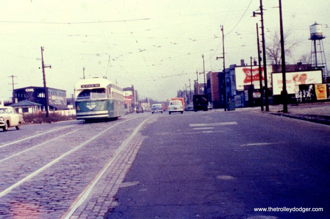 CTA PCC car 7143, working route 36 - Broadway-State, is seen heading southbound on State Street as it passes the 62nd Place Loop in the 1950s. View looks north. (William C. Hoffman Photo, Wien-Criss Archive)