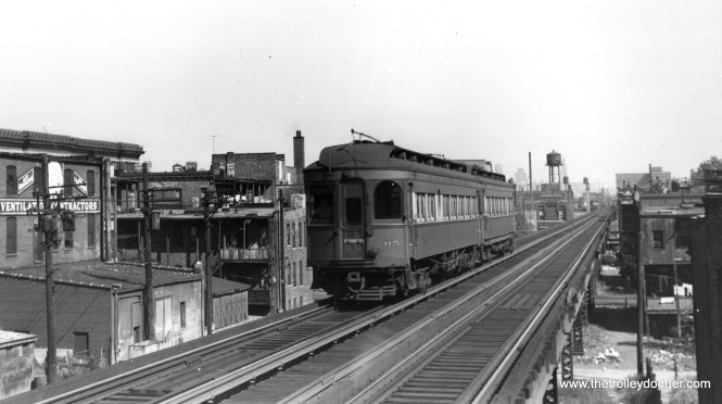 """As a shout-out to Joel Salomon of the Rockhill Trolley Museum, here is a picture of Chicago, Aurora & Elgin 315 in service on the old Garfield Park """"L"""". 315 is now part of their collection and they are always on the lookout for pictures of that car. (Joe L. Diaz Photo) This picture was taken somewhere west of Paulina Junction, but not as far west as Western Avenue."""