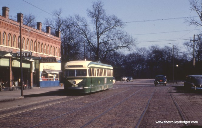 """CTA 4029 lays over on 64th Street near Stony Island on March 10, 1952. This was the east end of route 63. The sign says """"Enter at Font,"""" but we don't know whether this prewar PCC had been converted to one-man operation yet. However, this picture was taken around the time CTA held public hearings about converting 63rd to one-man operation."""