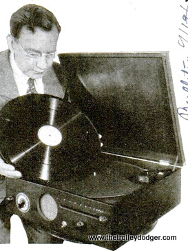 A 1936 phonograph for playing transcription discs. This one played records from the inside out, with a maximum running time of one hour per side.