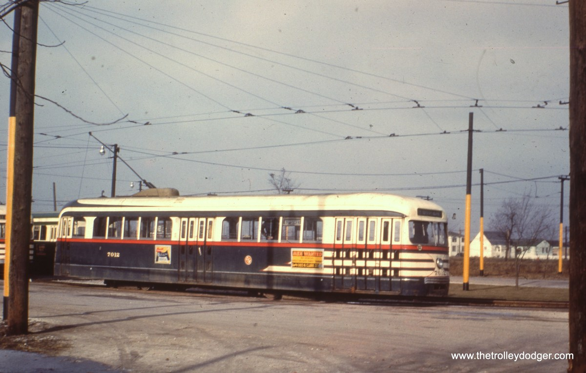 CTA 7012 at 63rd Place and Narragansett in December 1952.