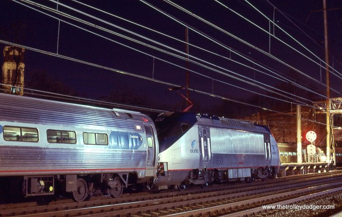 Amtrak HHP-8 # 650 with Regional Train # 178 sits and waits for catenary repairs at Trenton.