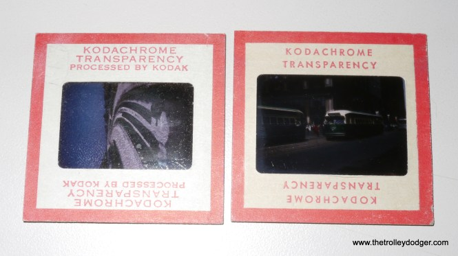"""A comparison of a standard 35mm Kodachrome slide with a """"superslide"""" in 828 film format. At 28x40mm as opposed to 24x36mm, the superslide has a nearly 30% larger surface area. Despite the different style of these two slide mounts, these pictures were taken only about one year apart (left 1956, right 1955). There were also 40x40mm superslides using size 127 roll film, taking up nearly the entire area of a standard 2x2"""" slide mount, but as far as I know Kodachrome was never made in that format, although Ektachrome certainly was. So, the term superslide can refer to either size 828 or 127 transparencies."""
