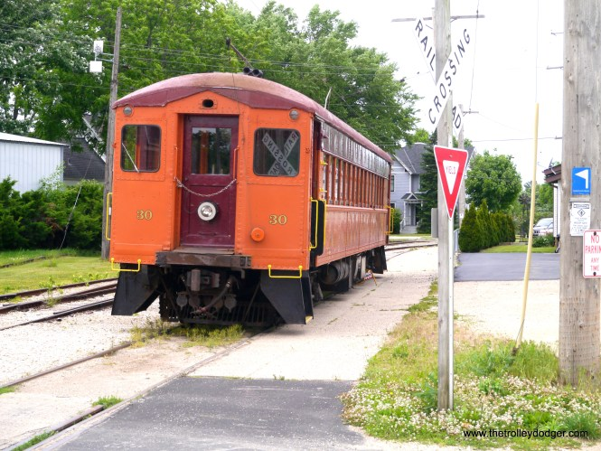South Shore Line 30, which was built in 1926. In museum service, its pantograph has been replaced by a pole.