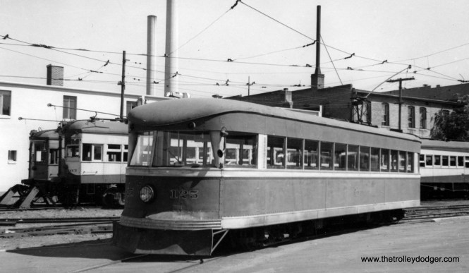 "Not all Bullets were double-ended, or built for the Philadelphia & Western. Here we see Bamberger Railroad car 125 in Salt Lake City on September 4, 1950. A single-end Bullet car, it originally came from the Fonda Johnstown & Gloversville. Don's Rail Photos says, ""125 was built by Brill in 1932, #22961. It was sold as Bamberger RR 125 in 1939 and retired in 1952. The body was sold to Utah Pickle Co."" We ran a picture of sister car 129 in our previous post Trolley Dodgers (January 15, 2016)."