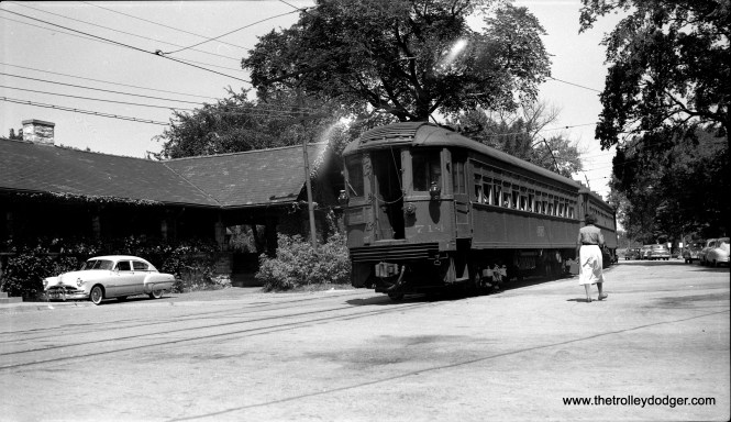 "Caption: ""3 cars on North Shore Line northbound at Kenilworth (714 on rear of train), July 13, 1955. This was shortly before the end of service on the Shore Line Route. (Bob Selle Photo) Don's Rail Photos: ""714 was built by Cincinnati Car Co in 1926, #2890. It is modernized in 1939 and preserved in 1963 by the Illinois Railway Museum."""