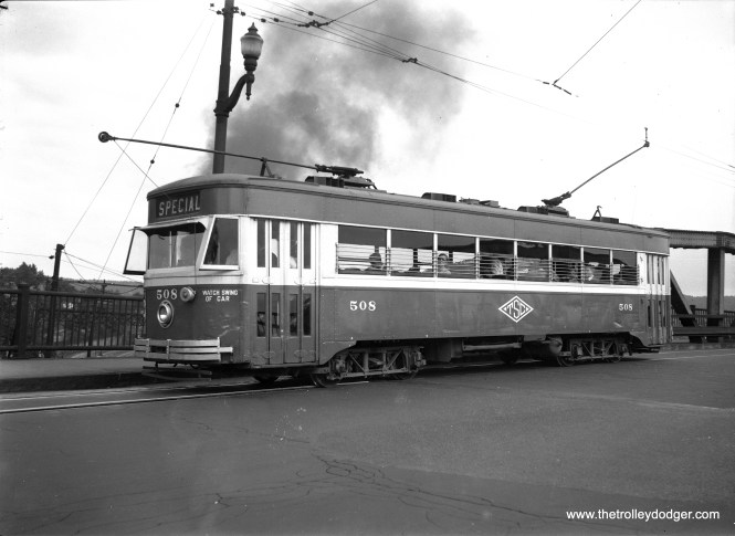 "Scranton Transit 508, an ""Electromobile,"" was built by Osgood-Bradley Co in 1929. It was another attempt at a modern standardized streetcar in the pre-PCC era."