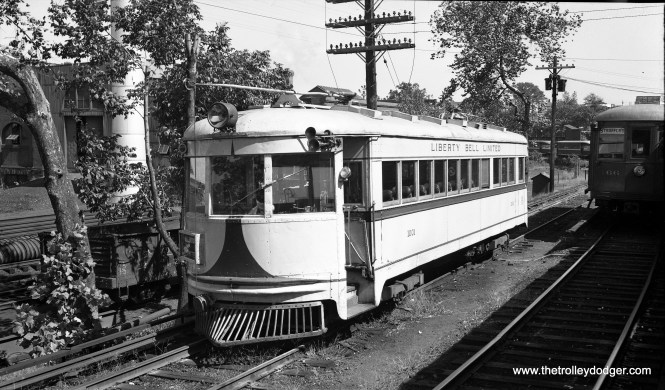 Lehigh Valley Transit's Liberty Bell Limited lightweight high-speed car 1001 (ex-Cincinnati & Lake Erie 128) at the 69th Street Terminal on the Philadelphia & Western, September 21, 1949. Soon after this picture was taken, LVT passenger service was cut back to Norristown.