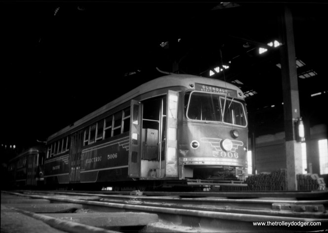 "PE double-end PCCs 5006 and 5012 at West Hollywood car house on September 8, 1946. These were used on the Glendale-Burbank line, which was ""light rail"" before the term ever existed. Service was abandoned in 1955 and I'll bet Angelinos wish they had it back today. (Norman Rolfe Photo)"