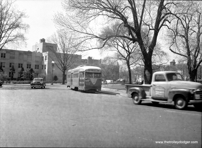 D. C. Transit 1484 on route 30. Streetcar service in Washington ended in 1962, but recently started up again.