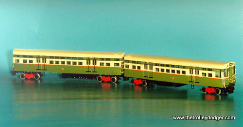 """Chicago Transit Authority 6000-series """"L"""" cars in their 1950 as-delivered colors."""