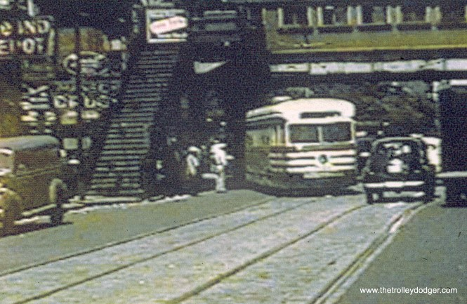 """A CTA """"tiger stripes"""" car at the east end of the 63rd Street line. (John Marton Collection)"""