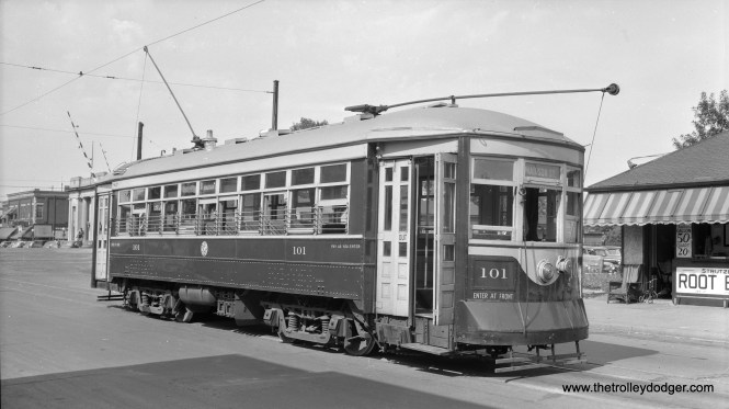 "C&WT 101 on the Madison line. Don Ross: ""101 was built by McGuire-Cummings in 1917. It was scrapped in 1948."" Our reader mdfranklinnascar writes: ""This is looking north on 19th St across the C&NW tracks in Melrose Park, IL."""