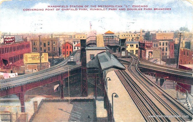"Marshfield Junction looking east, from a circa 1909 postcard. Three Metropolitan ""L"" branches converged here-- from left to right, the Logan Square/Humboldt Park, Garfield Park, and Douglas Park branches. Although an expressway now occupies this site, depressed in an open cut, there is still a track connection here (via a ramp) between the former Douglas branch (today's Pink Line) and the Blue Line."