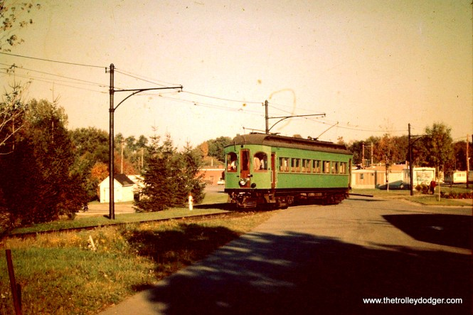 This is CA&E car 36 after being repainted at Trolleyville sometime during 1962.