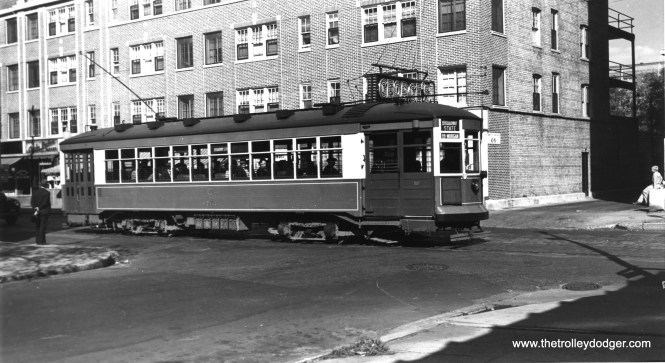 """CSL 1767 on Broadway-State. One of our regular readers writes, """"On Broadway SB near Surf Street (my best guess) post 1937."""" (Robert V. Mehlenbeck Photo, Joe L. Diaz Collection)"""