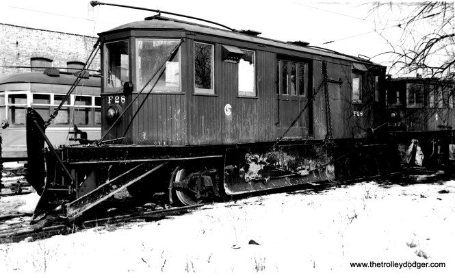 """CSL Snow Plow F28. Don's Rail Photos says, """"F28, plow, was built by McGuire-Cummings in 1924. It was retired on December 14, 1956."""" (Joe L. Diaz Photo)"""