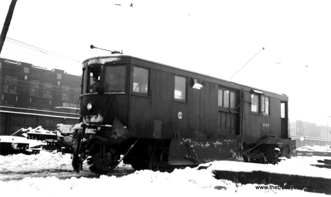 """Don's Rail Photos says, """"E57, sweeper, was built by Russell in 1930. It was retired on March 11, 1959."""" (Joe L. Diaz Photo)"""