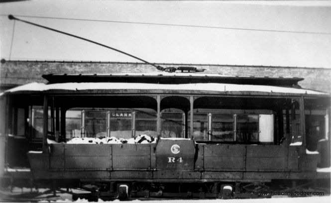 """CSL Sand Car R4 at Clark and Devon, circa 1930-32. Don's Rail Photos says, """"R4, sand car, was rebuilt by Chicago Rys in 1913 as M4. It came from 5569, passenger car. It was renumbered R4 in 1913 and became CSL R4 in 1914. It was retired in 1942."""" (George Krambles Photo, Edward Frank, Jr. Collection)"""