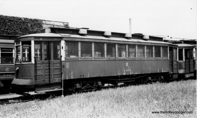"""CSL 1465 was called a """"Bowling Alley"""" car due to its sideways seating. Don's Rail Photos says, """"1465 was built by CUT in 1900 as CUT 4514. It was rebuilt as 1465 in 1911 and became CSL 1465 in 1914. It was rebuilt as (a) salt car and renumbered AA71 on April 15, 1948. It was retired on August 2, 1951."""" (Joe L. Diaz Photo)"""